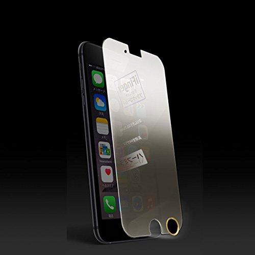 M's select. iPhone6用 電源OFF時ミラー化 ミラー 高硬度9H ガラスパネル 指紋認証対応ホームボタンシール iFinger ブラックゴールド付属 MS-I6G9H-MR