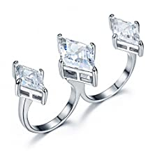 buy Umode Jewelry Unique 3 Diamond Shaped Cubic Zirconia Stones Two Finger Ring Gold And Silver Two Color Choices (Silver Color)