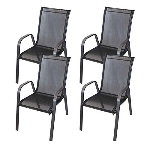4x Gartenstuhl pulverbeschichtet mit Textilenbespannung in Anthrazit / Schwarz – Gartenmöbel Terrassenmöbel Balkonmöbel Gartensessel Stapelstuhl Stapelsessel Stahlgestell jetzt kaufen
