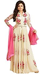 Pal Tex Fab Beige Georgette Anarkali Gown Semi Stitched Dress Material