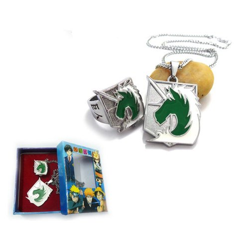 Ruler Attack on Titan Shingeki No Kyojin Necklace + Ring (Military Police) - 1