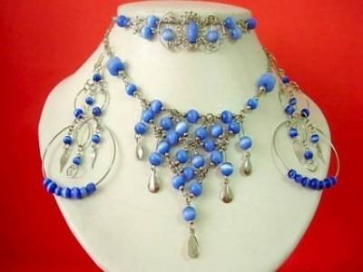 Handcrafted Cat's Eye Necklace, Earrings, and Bracelet SET