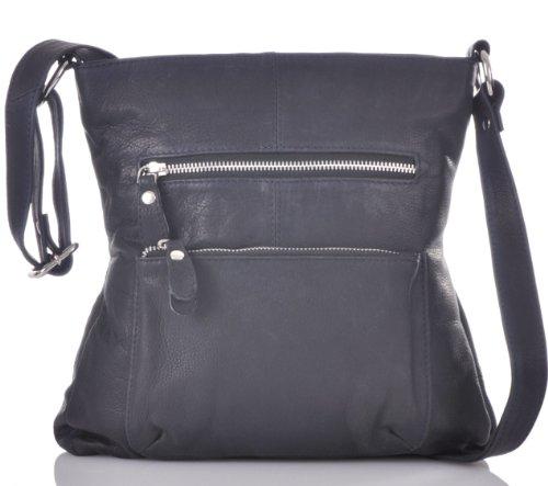 CONTEMPO Crossover-Bag Soft Rindleder Tasche Dunkelblau