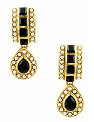 The Art Jewellery - Black Rajwadi Earrings With Chowki Stone