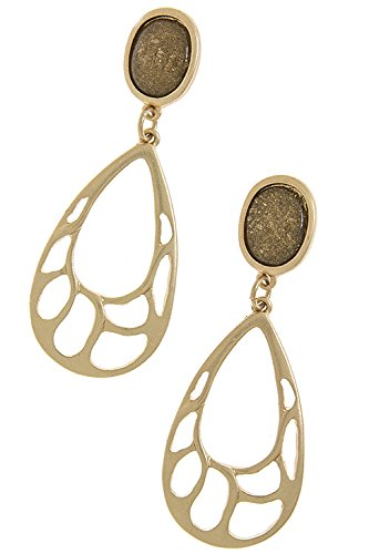 Trendy Fashion Jewelry Teardrop Pierced Hole Earrings By Fashion Destination | (Matted Gold)