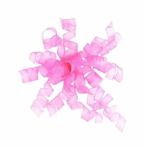 The Gift Wrap Company 12 Count Sheer Curly Ribbon Bows, Pink