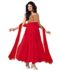 Decent World Fancy Red Net Embroidered Unstitched Style Dress Material