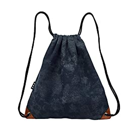 LaReine Gym Drawstring Bag Denim Blue Canvas Backpack
