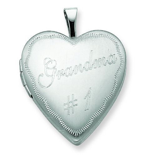 Sterling Silver 20mm #1 Grandma Heart Locket
