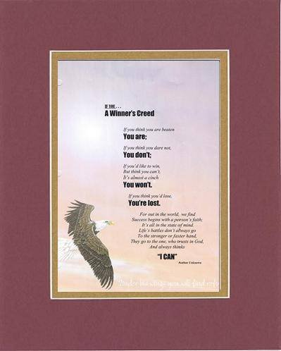 Touching And Heartfelt Poem For Motivations - A Winner'S Creed Poem On 11 X 14 Inches Double Beveled Matting (Burgundy) front-587366