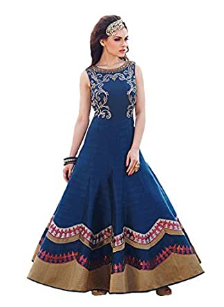 Adorn Fashion Designer Nevy Blue Long Printed Party Wear