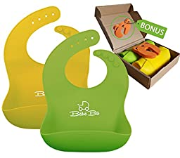 Premium Silicone Baby Bibs. Soft & Waterproof - GREEN & YELLOW For Boys & Girls | With WIDE Food Catcher. Always Keeps Its Shape | Wipe Clean, Fast Drying | FREE Door Slam Guard