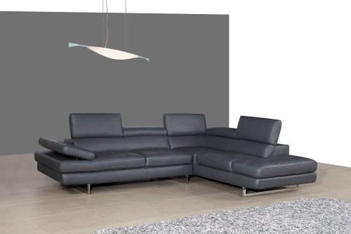 J&M Furniture 178552-Lhfc A761 Italian Leather Sectional Slate Grey In Left Hand Facing