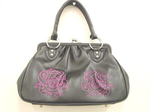 Lux De Ville Born Lucky Kiss Lock Handbag Black Handbag with Violet Tattoo