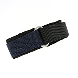 Watch Band Nylon One Piece Wrap Sport Strap Navy Adjustable Velcro 20 millimeter
