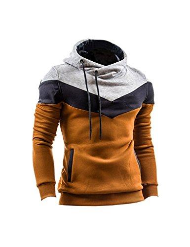 Minetom Uomo Autunno Inverno Contrasto di Colore Con Cappuccio Maglione Moda Slim Fit Felpa Sport Hoodies Cachi IT 38