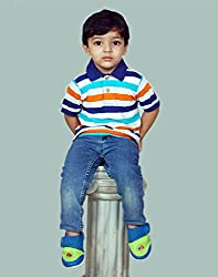 Snoby Collar Tshirt for boys-orange & navyblue lines(SBYkk665)