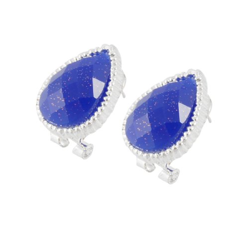 Rosallini Pair Women Plastic Silver Tone Faceted Royalblue Eardrop Earrings