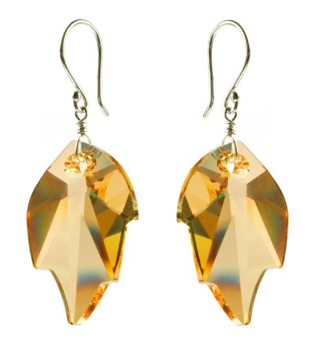 Sterling Silver Swarovski Elements Topaz Colored Leaf Earrings