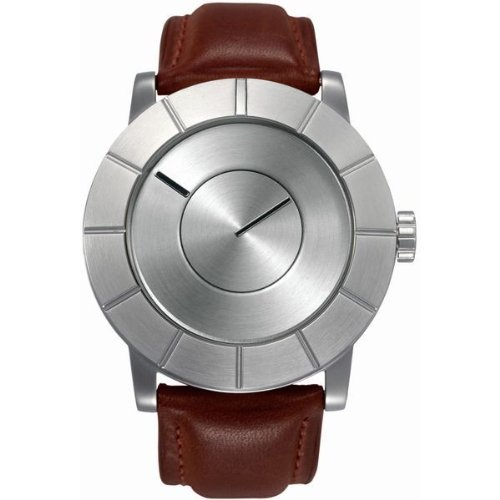 Issey Miyake To: Automatic Mens Watch (Silver Dial; Leather Brown Band)