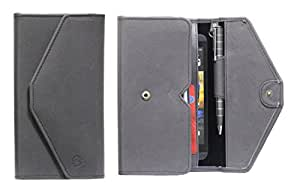 J Cover A12 Nillofer Leather Wallet Universal Phone Pouch Cover Case For HTC Evo 4G LTE Black