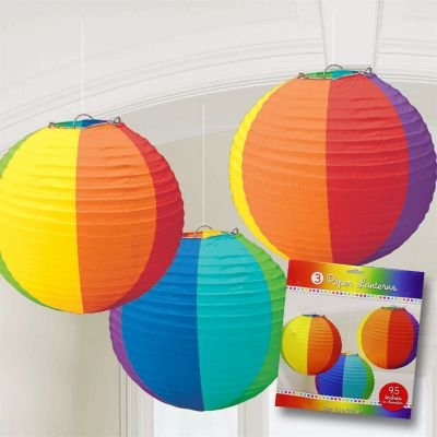 Rainbow Multi Colored Paper Lanterns (3ct) - 1