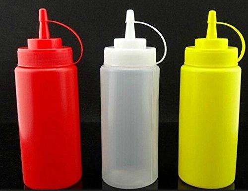 ETGtek 2sets de cuisine en plastique flacon souple Distributeur Cruet pour Sauce Ketchup Vinaigre