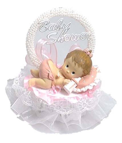 Baby Girl on a pillow Shower Birthday Cake Top Pink Accent