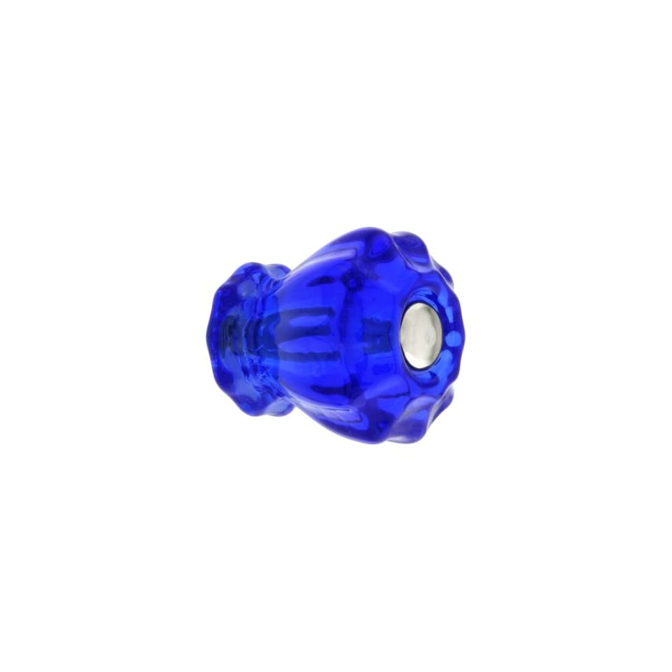Small Fluted Cobalt Blue Glass Cabinet Knob With Nickel Bolt. Knobs Antique.