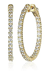 14kt Yellow Gold Diamond Inside and Outside Shared-Prong Hoops, 3 Cttw (H-I Color, I1Clarity)