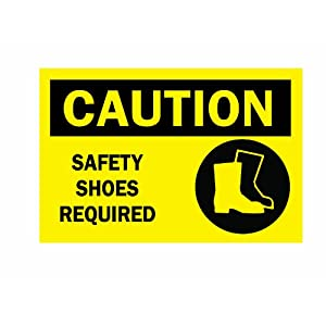 Brady 25895 Plastic Protective Wear Sign 10u0026quot; X 14u0026quot; Legend U0026quot;Safety Shoes Required (with Picto)u0026quot;