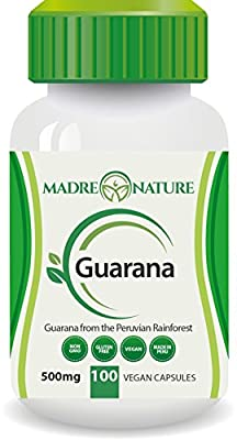 100% Pure Fruit Guarana Dietary Supplement Capsules: 500mg X 100 Capules (Vegan) - Amazon Rainforest - Gluten-free - Non-GMO - ­Stay Alert - Increase in Stamina - Supports Wellness