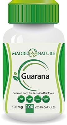 100% Pure Fruit Guarana Dietary Supplement Capsules: 500mg X 100 Capules (Vegan) - Amazon Rainforest - Gluten-free - Non-GMO - Stay Alert - Increase in Stamina - Supports Wellness