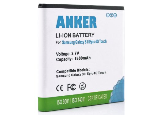 Anker 1800mAh Li-ion Battery For Sprint Samsung Galaxy S2 II Epic 4G Touch D710, U.S. Cellular Galaxy S2 II SCH-R760 - White