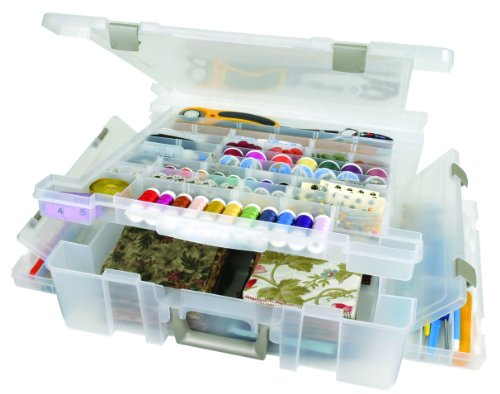 ArtBin 6981AB Super Satchel Deluxe 1-Compartment/Divided Base, Translucent Clear