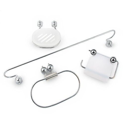 Bathroom Set 4 Parts Stainless Steel Bath Accessories with Soap Dish, Roll Holder, Towel Ring and Towel Rail