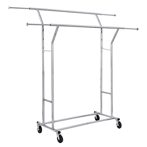 SONGMICS Rolling Garment Rack Heavy-Duty Double-Rail Clothing Hanging Rack on Lockable Wheels Chrome Finish ULLR22C (Heavy Duty Rolling Garment Rack compare prices)