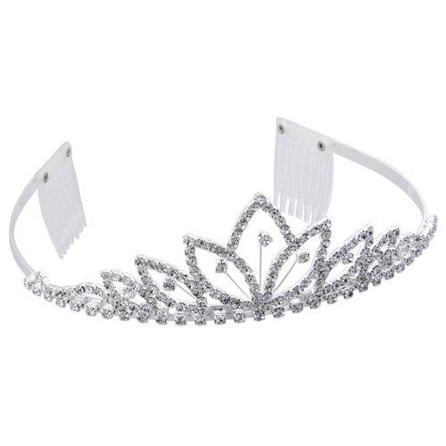 Skyllc® Moda e bella Silver Flower placcato fascia nuziale di cristallo del diadema dei capelli Fascetta w / 2 pettine