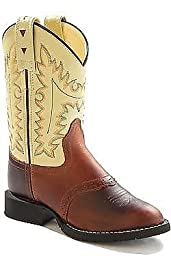 Old West Oyester Toddler Boys Oiled Rust Leather Round Toe Cowboy Boots 7 D