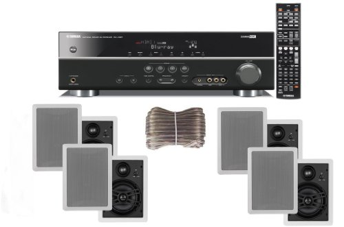 Yamaha 3D-Ready 5.1-Channel 500 Watts Digital Home Theater Audio/Video Receiver With 1080P-Compatible Hdmi Repeater & Upgraded Cinema Dsp With A Usb Digital Input And Connecting Cable To Play & Charge Your Ipod Or Iphone & Control Remotely+ Yamaha Custom