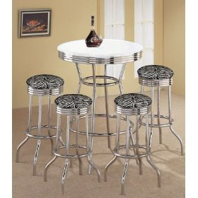 4 Zebra Print Pub Stools and White Pub Table Set
