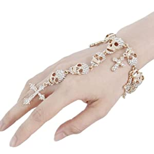 Halloween Gold-Tone Skull Cross Clear Austrian Crystal Adjustable Ring Bracelet Set N01917-1 from Ever Faith