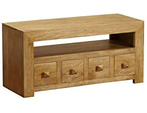 Homescapes Dakota Solid Mango Wood TV DVD Entertainment Unit with 4 Drawers Oak Shade Living Room Furniture (No Veneer)