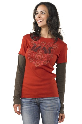 Green 3 Apparel Layered Look Squirrels Usa-Made Organic T-Shirt (Xl, Chili) front-691157