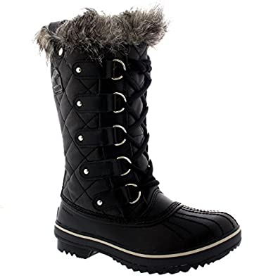 Womens Sorel Tofino Leather Lace Up Snow Black Fur Mid