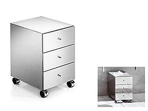 kleiner schrank auf rollen mit edelstahlverkleidung 3 schubladen chrom gl nzend. Black Bedroom Furniture Sets. Home Design Ideas