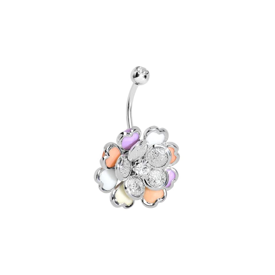 Clear Petal Flowering Hearts Belly Ring