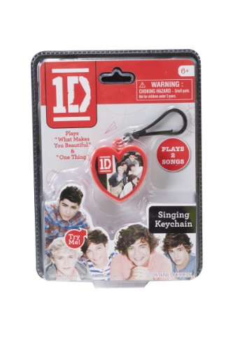 One Direction Singing Keychain, Red Heart with Group Image - 1