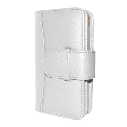 Great Sale Apple iPhone 5 / 5S Piel Frama White Leather Wallet