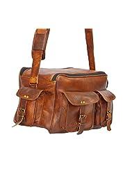 Digital Rajasthan Genuine Leather Messenger Laptop Cum Office Bag Vertical Dark Tan Bag (Dark Tan)